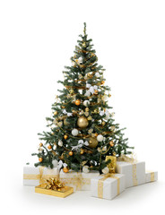 Decorated gold Christmas tree with golden patchwork ornament artificial balls and gift presents for new year