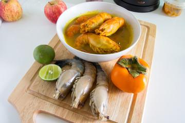 yellow sour soup with fresh shrimp
