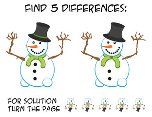Child game - find 5 differences in pictures; with step by step solution; picture of cute smiling snowman with green scarf and cheering