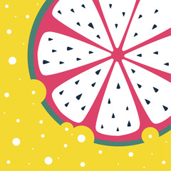 image of abstract fruit on a yellow background. Illustration with the image of dragon fruit with white pulp and black seeds. The rind of the fruit is pink and green.