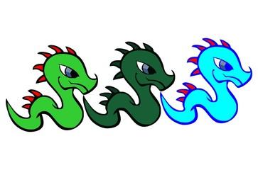 three baby dragon vector
