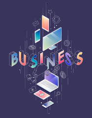 Isometric concept with thin line letters, typography word business