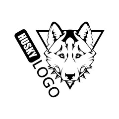 Husky dog logo. Pet Emblem