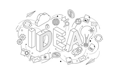 Isometric concept with thin line letters, typography word idea