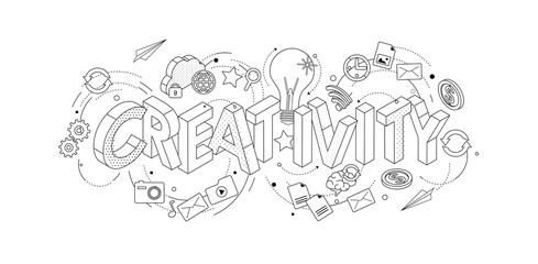 Isometric concept with thin line letters, typography word creativity with line icons