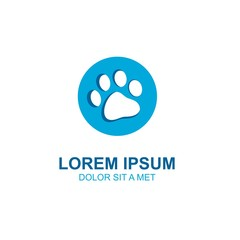 dog foot logo design, the sole of the dog's foot, vector icon.