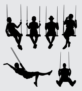 swing playing people silhouette. Good use for symbol, logo, web icon, mascot, sticker, sign, or any design you want