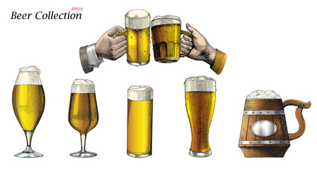 Beer Mug collections set hand drawing vintage style