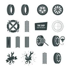 Tire shop concept. Black tire icons set. Service, diagnostics, replacement.