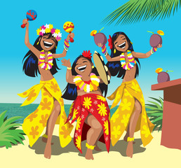 Havaii party. Three young hula girls dancing on the beach with a cocktail. Cartoon vector illustration
