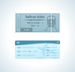 Ticket for train, and a ticket for an airplane flight.