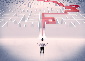 Maze solved for businessman concept