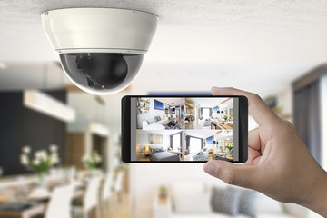 mobile connect with security camera Wall mural