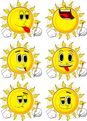 Cartoon sun writing with pencil. Collection with happy faces. Expressions vector set.