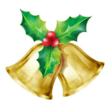 Christmas ornament, Bells and holly vector illustration isolated on white background for design elements