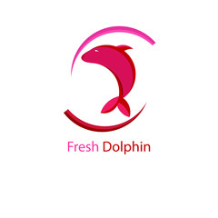Flat and Pink Fresh Dolphin Logo