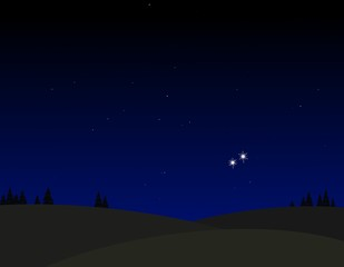 Venus and Jupiter conjunction in the sky