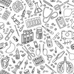 medicine doodle seamless pattern