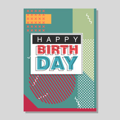 Happy Birthday Memphis style vector design for greeting card
