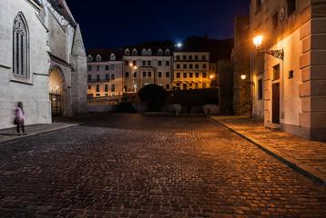 Bratislava Old Town Square at Night in Slovakia