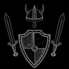 Viking warrior set - shield, swords and horned helmet. Hand drawn sketch