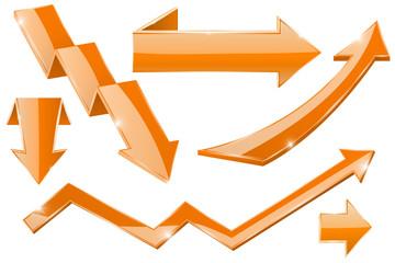Orange 3d arrows. Shiny web icons