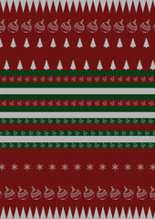 Christmas pattern with holiday decoration on red background