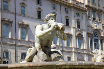 Fountain on the Navona square, Rome, Italy