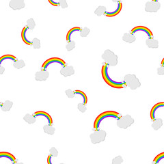 Rainbow with clouds seamless pattern background icon. Business flat vector illustration. Rainbow sign symbol pattern.