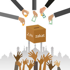 Zakat giving money to the poor islam concept religious tax - Illustration