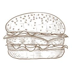 Hamburger. Brown hand drawn sketch