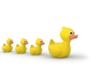 Rubber duck family with clipping path