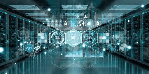 Graph holograms flying over server room data center 3D rendering Wall mural