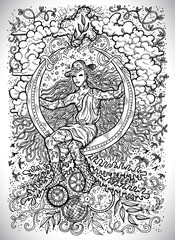 April month graphic concept. Hand drawn engraved fantasy illustration. Young magician of Spring