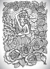 May month graphic concept. Hand drawn engraved fantasy illustration. Beautiful queen of flowers