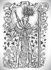 March month graphic concept. Hand drawn engraved fantasy illustration. Handsome magician of spring