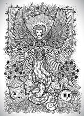June month graphic concept. Hand drawn engraved fantasy illustration. Magician of Summer with birds, animals and plants