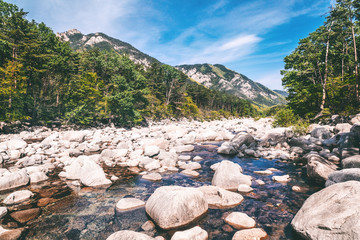 Mountain river in the national park of Seoraksan, beautiful bright landscape
