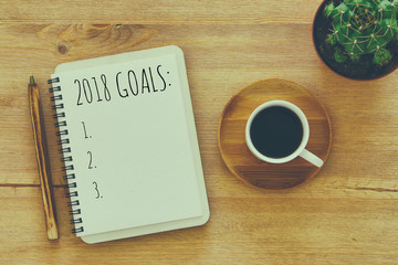 Top view 2018 goals list with notebook, cup of coffee on wooden desk.