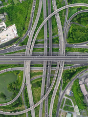 interchange Highway traffic beautiful , Bird Eye View in bangkok