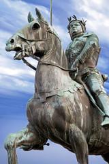Aluminium Prints Historic monument Dinan. Statue équestre de Du Guesclin. Côtes d'Armor. Bretagne