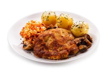Fried pork chop with vegetables