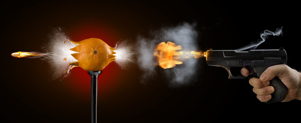 gun shot speed picture mandarin explosion bulb bullet fire smoke black background art pattern