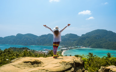 traveling woman on Phi phi island Thailand
