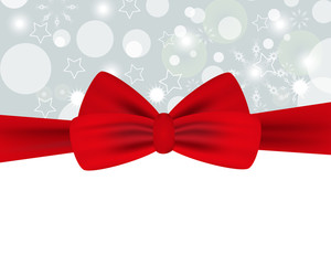 Holiday background with red bow for Christmas and New Year. Design for posters, banners or cards. Vector