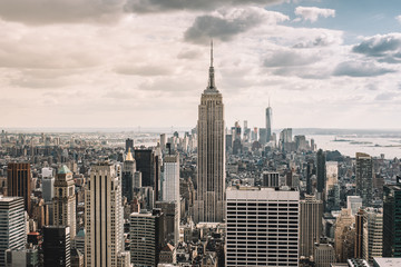 Cityscape. View of New York city skyline. Downtown Manhattan.
