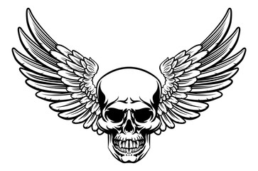 Winged Skull Vintage Engraved Woodcut Style