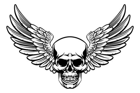 Winged Skull Vintage Engraved Woodcut Style