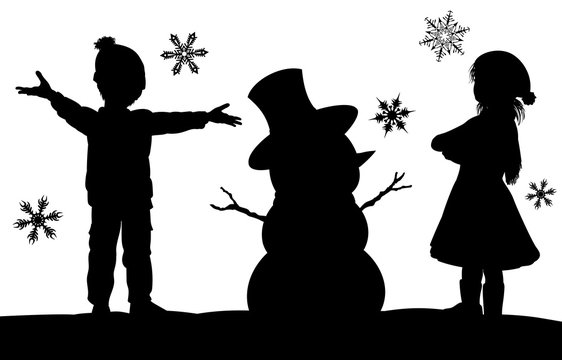 Kids Making Snowman Christmas Silhouette Scene