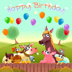 Wall Murals kids room Happy Birthday card with cute farm animals in the countryside